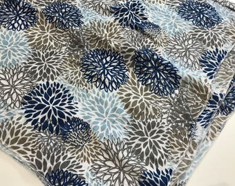 Navy Blue and Grey Floral Blooms Baby Girl Swaddle Blanket