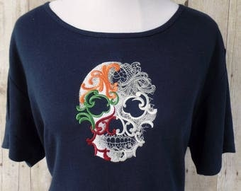 Fall skull shirt, autumn colored ghostly skull, Day of the Dead, Dia de los Muertos, gothic ghostly skull shirt for women