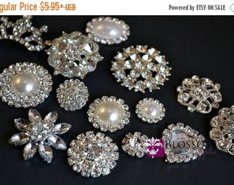 ON SALE Assorted Rhinestone Metal Embellishment Buttons - Flower Centers - Wedding Bridal Prom Jewels - Vintage Inspired Stones Silver Color