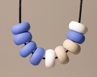 Polymer Clay Bead Necklace- Cornflower Blue, White and Sand