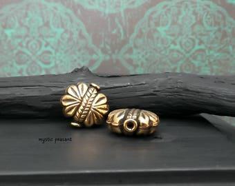 Antique Gold Floral Puff Round Metal Bead - Bohemian Hippie Flower Bead - 14mm - Pkg. 2
