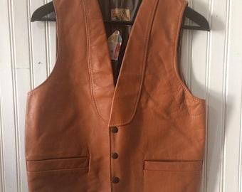 Vintage Bay River of San Jose Brown Leather Vest, size 38