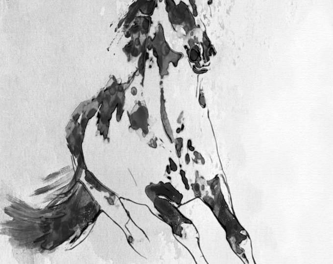 "Wild Running Horse 1. Extra Large Horse Wall Decor, Black Contemporary Horse, Large Contemporary Canvas Art Print up to 72"" by Irena Orlov"