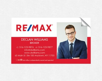 REMAX real estate deluxe glossy stickers - business card size - high end - crack and peel - FREE UPS ground shipping