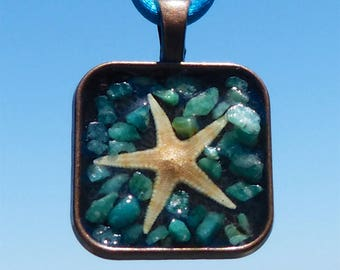 Mini Starfish Asteroidea Positive Energy Pendant with Amazonite and Square Copper Mandala Bezel. Frequency Charged.