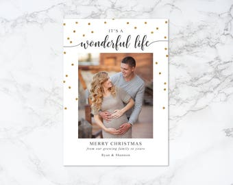 Printable It's A Wonderful Life Modern Holiday/Christmas Pregnancy Photo Card with Gold Glitter Confetti