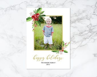 Printable Happy Holidays Watercolor Elements Rustic Holiday/Christmas Frame Photo Card