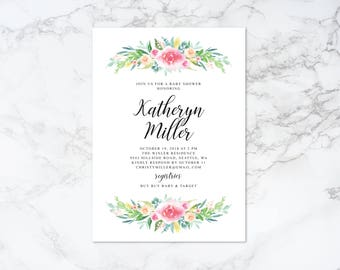 Printable Watercolor Floral Baby Shower Invitation