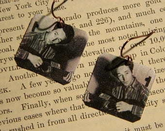 Woody Guthrie earrings music jewelry mixed media jewelry