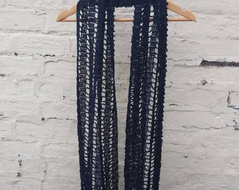 Navy Blue Crochet Wrap - Fine Cotton Scarf Shawl - Ready to Ship