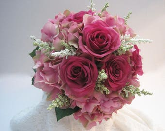 Stunning Pink Bridal Bouquet with Pink Hydrangea and Dark Pink Roses French Knotted with Pearl and Rhinestone Accent Handle....Ready to Ship