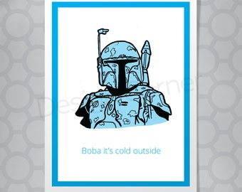Funny Illustrated Star Wars Boba Fett Christmas Card