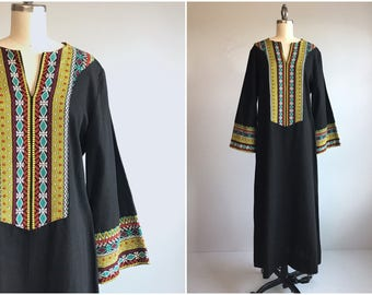 Vintage 70s Caftan  / 1970s Mod Ethnic Maxi Festival Dress / Guatemalan Embroidered Woven Stripe / Made in Guatemala