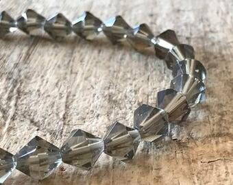 "41pcs 10mm Gray Bicone Beads, 15"" Strand, Bicone Beads, Glass Beads, Destash Jewelry Making Supplies, Jewelry DIY, Jewelry Supply"