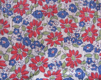 vintage FULL feed sack -- red and blue floral print fabric