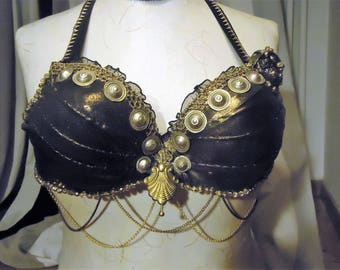 Tribal Fusion bra,  Belly Dance, Metallic Bronze Bra, vintage, Cabaret.