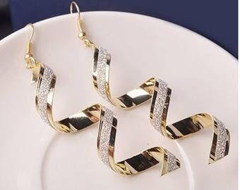 Jewelry #15   Elegant Women's Girls Bead Spiral Ear drops Long Dangle Hook Earrings Fashion Jewelry Gold