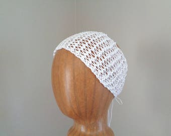 White Lacy Headband, Ties in Back, Drop Stitch, Cotton Blend, Womens Summer Fashion, Glitter Sparkle Headband, Open Texture, Hand Knit