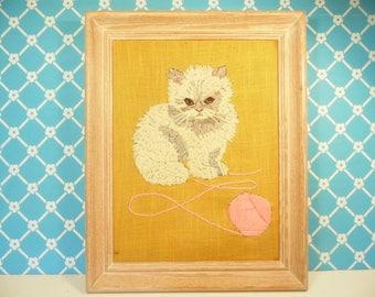 Vintage Framed Cat Crewel Wall Hanging -  Avon Kit - Playful Kitten