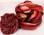 Strawberries -( 4 oz.)  Custom blended top - Superfine Merino / FLAX / Mulberry Silk/ Baby Alpaca ( 35/25/25/15 )