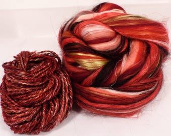 Strawberries -( 4 oz.)  Custom blended top - Superfine Merino / FLAX / Mulberry Silk/ Baby Alpaca ( 35/25/25/15 )