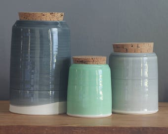 Custom canister set. Your choice of glaze color. 2 quart, 1 quart, .5 quart Set of 3 canisters. Modern Kitchen Pottery. Modern Canister Set