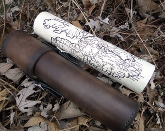 Leather Map Case, Scrolls, Battle Plans, LARP - Deluxe