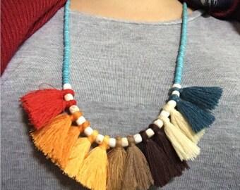 Tassel beaded necklace, earthy tones