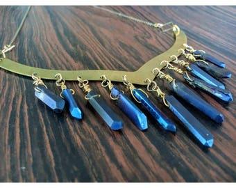 Blue Titanium Quartz Crystal Collar, Chandelier Necklace