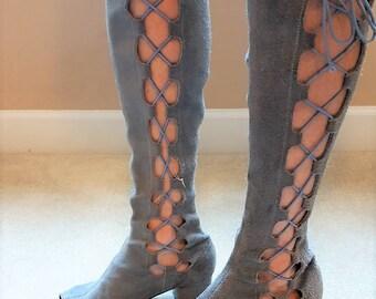 Vintage Mod 1960s Original Blue Suede Open Toe Gladiator Boots
