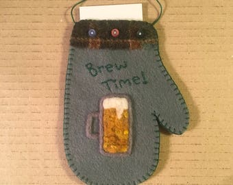 It's Brew Time Needle Felted Mitten Ornament For Someone Who Loves A Cold Brew