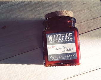 SWEATER WEATHER Amber Glass Apothecary Cork Topped Jar Wood Wick Soy Candle 8.5oz Perfect Gift