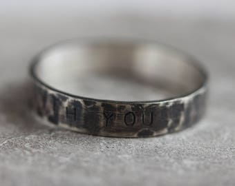 Hidden message ring - men's sterling silver ring