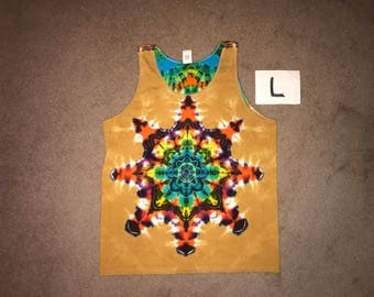 Tie Dye Tank Top ~ Fire Mandala With Palomino Gold Background ~ i_6060 in Adult Large