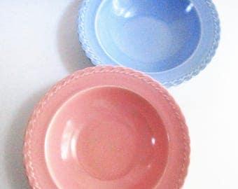 Vintage Vernonware Native California Vegetable Bowls Set of 2 Melinda Pattern Pastel Pink Blue Pottery Bowls