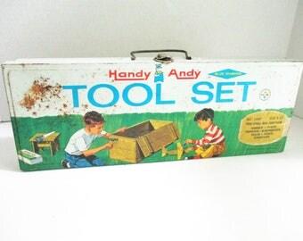 Vintage Handy Andy Tool Set Box Steel Storage Box Trinket Bod