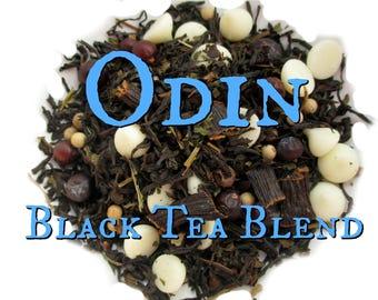 Odin Black Tea Blend - loose leaf black tea, peppermint black tea, juniper berries, vanilla, white pepper, Norse mythology, Vikings, Woden