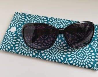 Padded Sunglass Case with Snap- Dark teal