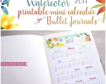 50% SALE Mini 2017 Calendar printable for Bullet Journals and planners- pdf INSTANT DOWNLOAD - bujo - watercolor