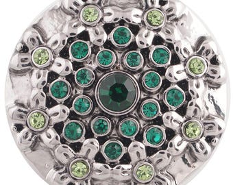1 PC - 18MM Green Flowers Rhinestones Silver Charm for Snap Jewelry KC5352 CC3599