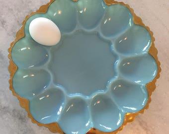 vintage fire king blue milk glass gold rim egg plate, platter