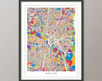 Dallas Map, Dallas Texas City Map, Art Print (3008)