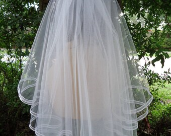 Bridal Veil, 2 Tier Bridal Veil, Ribbon Edge Veil, Shoulder Length Veil, Embellished Comb, REX3044