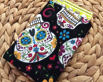 READY TO SHIP Skull Birth Control Pouch - Pill Cover Travel Accessory - Skulls Fabric Birth Control Pouch - Feminine Discreet Pill Cover