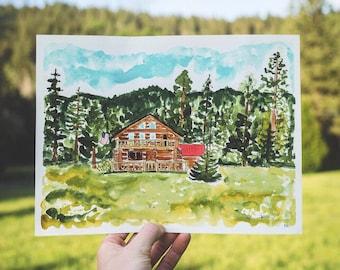Rustic Watercolor Invitation Painting