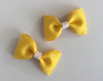 Yellow Hair Bows, Hair Clips