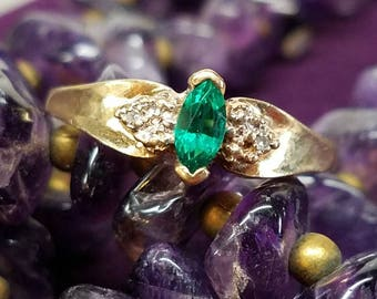 10K Yellow Gold Synthetic Emerald Diamond Ring