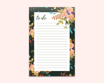 Vintage Floral Notepad / To-Do List / Daily Notepad