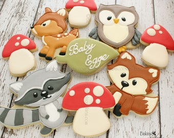 2 Dozen Woodland Animal Cookies, Woodland Baby Shower Cookies, Fox Cookies, Deer Cookies, Raccoon Cookies, Owl Cookies, Mushroom Cookies
