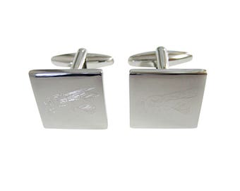 Silver Toned Etched Bee Cufflinks